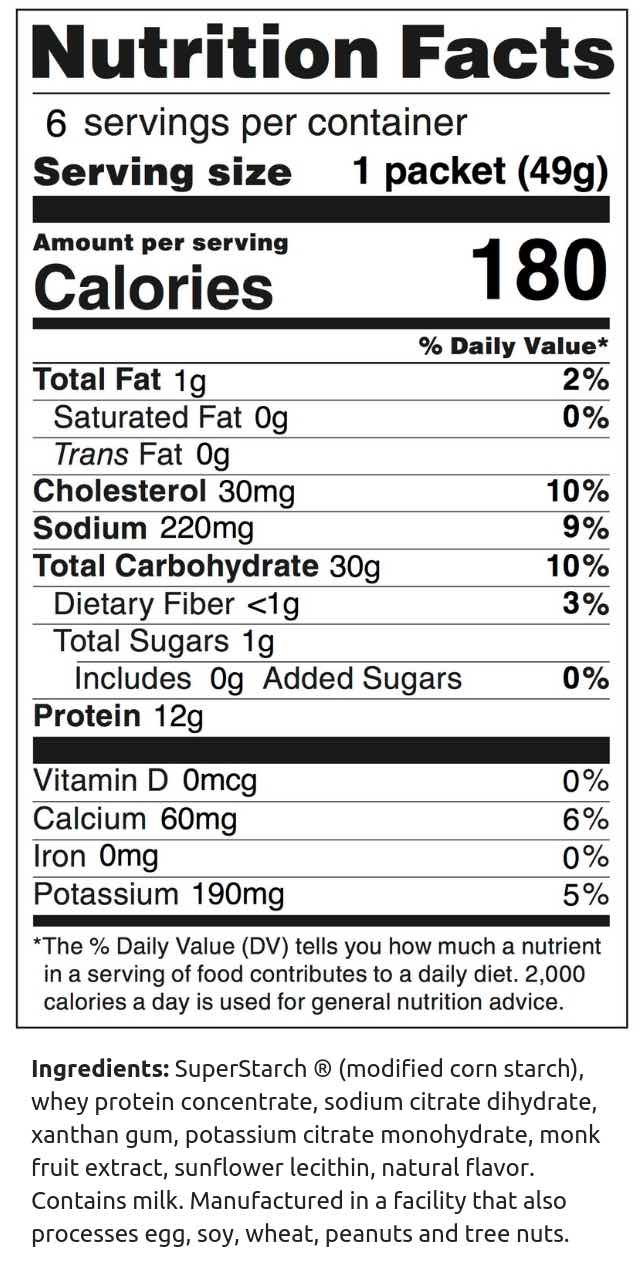 Vanilla Protein Performance Energy Packet Nutrition Facts (49g)
